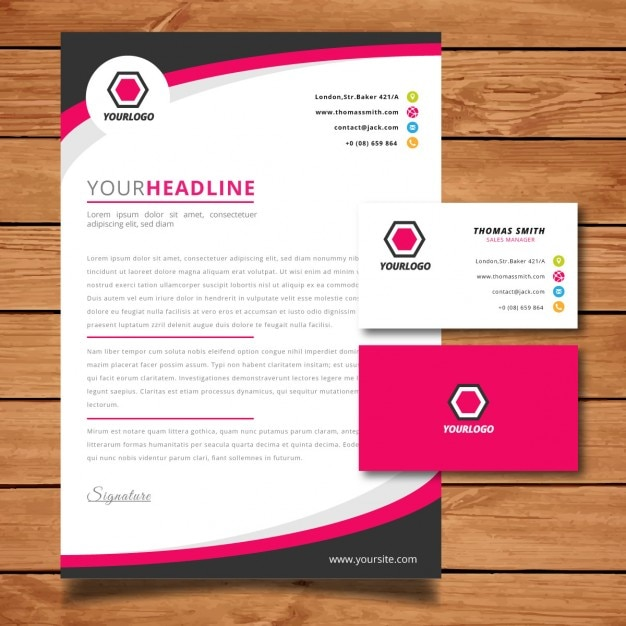 pink letterhead and business