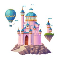 Free Vector Pink magic castle princess or fairy palace air balloon and flying turrets with flags fantasy royal fortress cute medieval architecture isolated on white background cartoon illustration