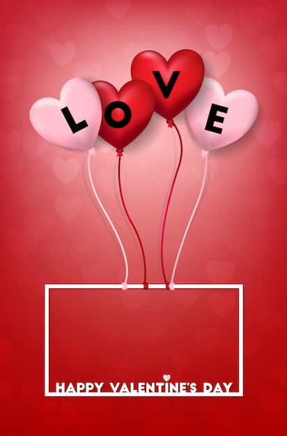 Download Pink and red heart balloon shape with love word   Premium ...
