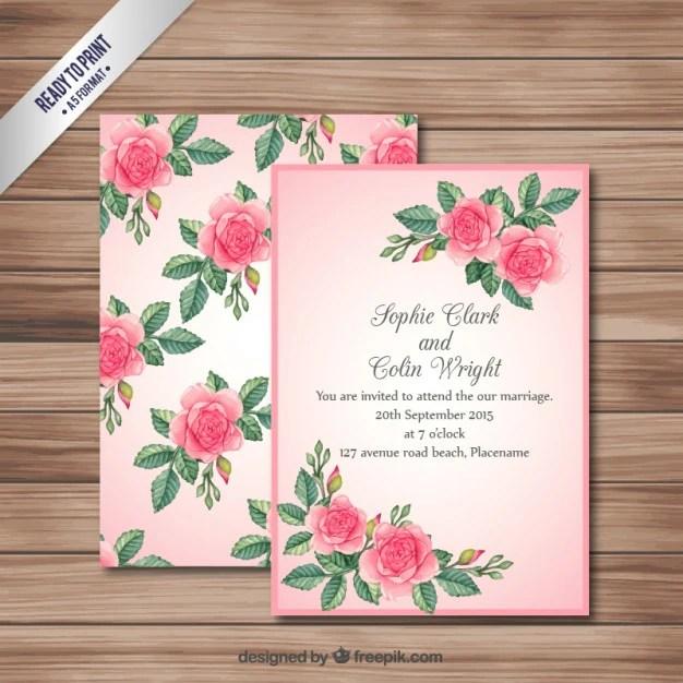Pink Wedding Invitation Card Premium Vector