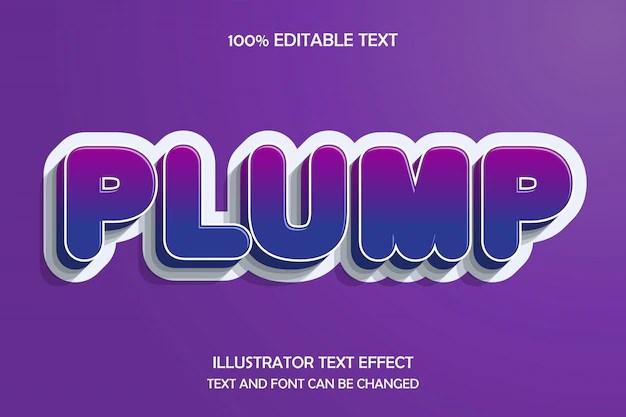 Plump. editable text effect modern emboss style | Premium Vector