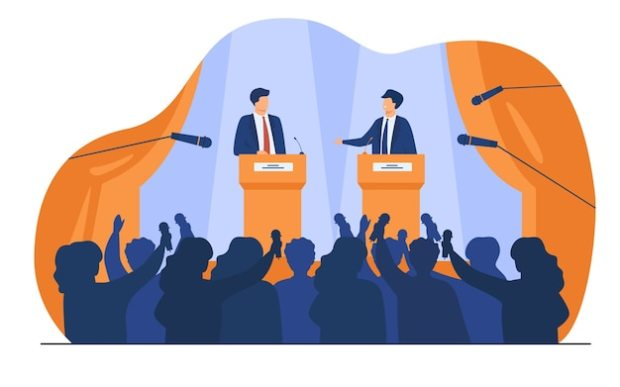 Politicians talking or having debates in front of audience flat vector illustration. cartoon male public speakers standing on rostrum and arguing. Free Vector