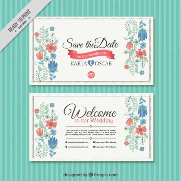 Set Of Fl Vine Wedding Cards Thank You Invitationenu Vector Image