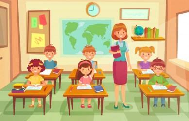 Premium Vector Pupils and teacher in classroom cartoon illustration