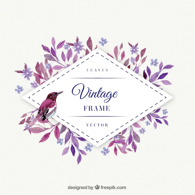 Purple leaves with bird watercolor frame Vector  Free Download