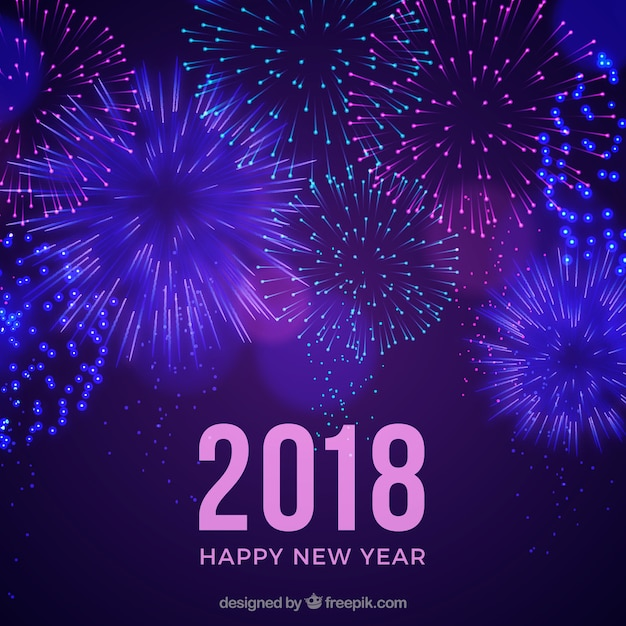 Purple new year background with fireworks Vector  Free