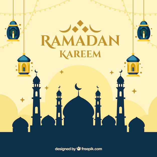 Ramadan background with mosque silhouette in flat style