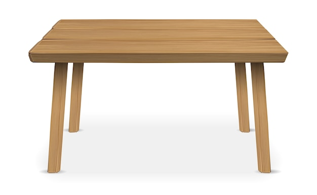 Real Wood Table On A White Background Vector