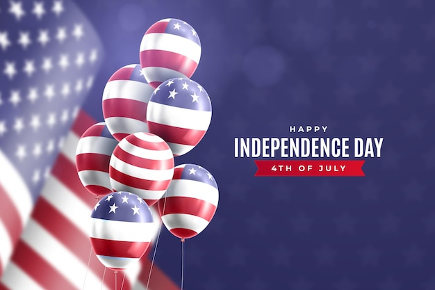 Realistic 4th of july independence day balloons background Free Vector