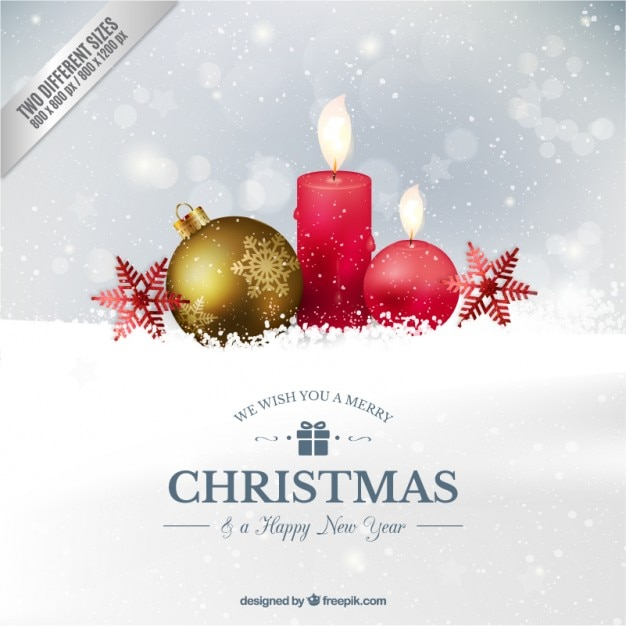 Realistic Christmas ball and candles Background Free Vector