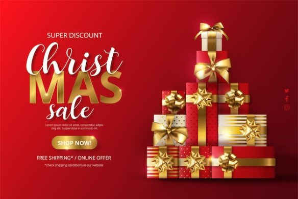 Realistic christmas sale background with tree made of presents Free Vector