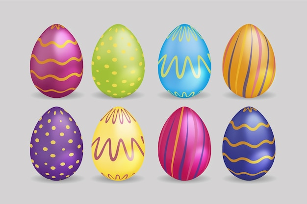 Realistic easter day eggs with curvy lines and dots Free Vector
