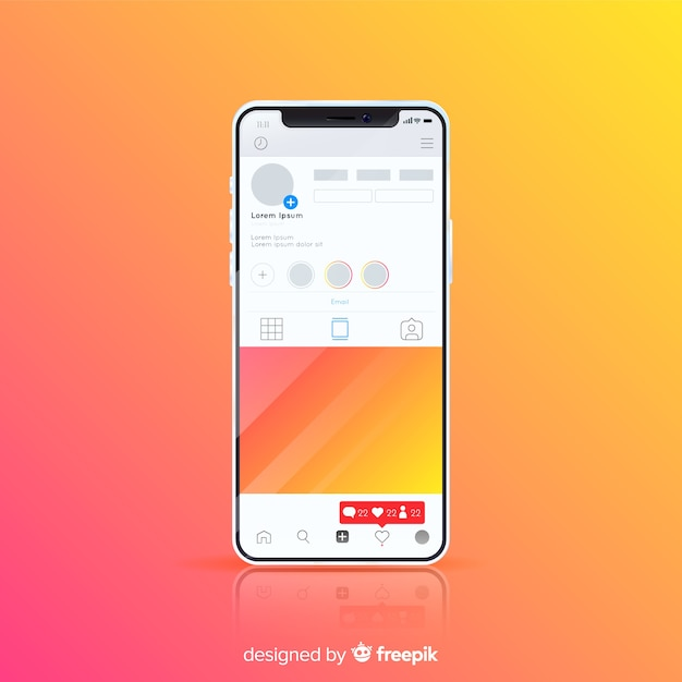Realistic instagram photo frame on iphone template   Free Vector