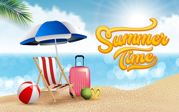 Premium Vector Realistic Travel And Summer Beach Vacation Relax Poster Design Island Is Surrounded Sea Beach Umbrella Coconut Clouds Ball Luggage Beach Chair