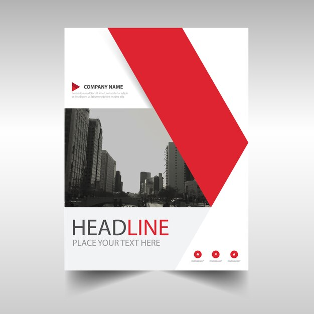 Red Creative Annual Report Book Cover Template Vector