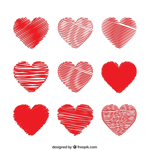 Red Hearts In Doodle Style Vector Free Download