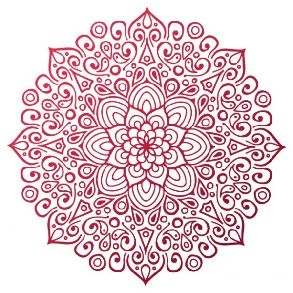 Red mandala outline Vector Free Download