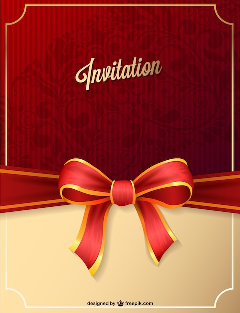 Red party invitation with ribbon Vector  Free Download