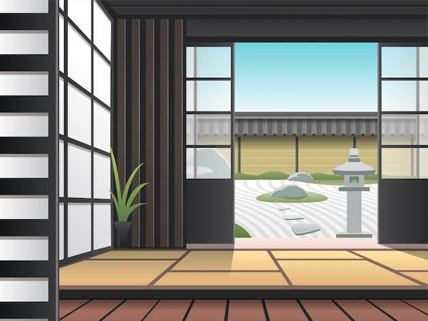 Premium Vector Relaxing Japanese Style Living Room