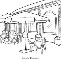 restaurant exterior illustration premium vector parasol vectors