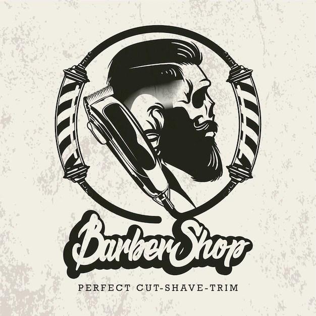 retro barbershop logo vector