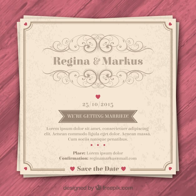 Retro Wedding Invitation Premium Vector