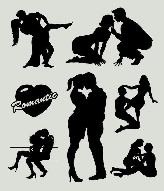 Download Romantic love couple silhouette Vector   Premium Download