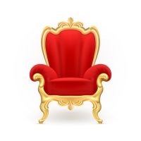 Royal throne, luxurious red chair with carved golden legs ...