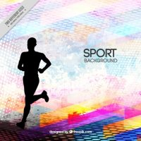 Runner silhouette on a abstract background Vector ...