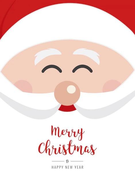 Santa Claus Face Smile Christmas Gretting Text Card Vector