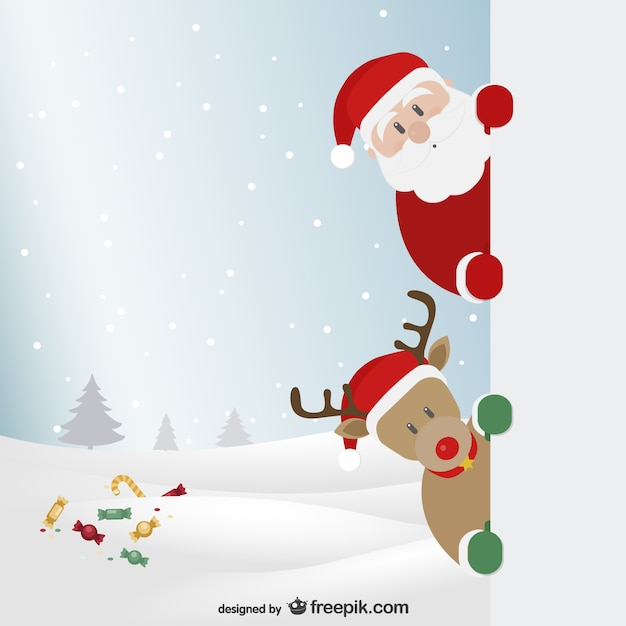 santa claus and reindeer with winter