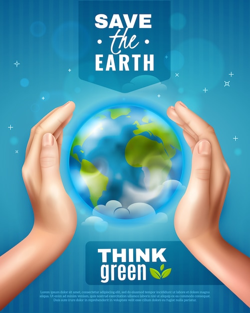 Free Vector Save Earth Ecology Poster