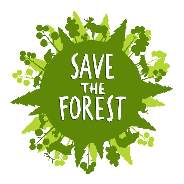 Free Vector Save The Forest Concept