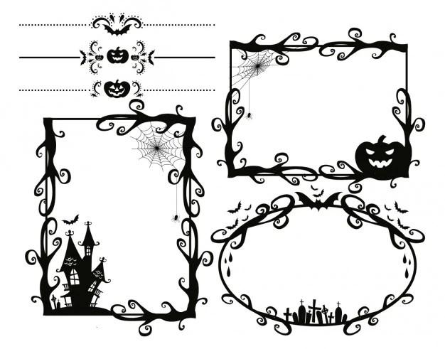 scary halloween frames vector