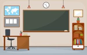 classroom blackboard vector background interior empty cartoon furniture college flat board university illustration premium institute