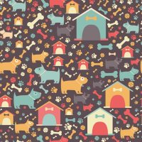 Seamless dog pattern. Vector abstract cartoon background ...