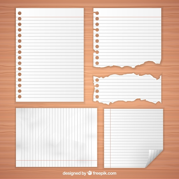 selection of blank paper