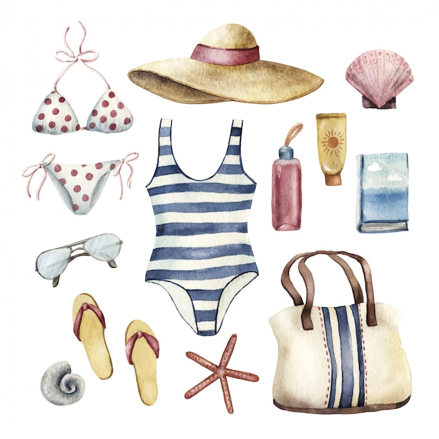 Set Of Beach Vacation Essentials Watercolor Illustration Premium Vector