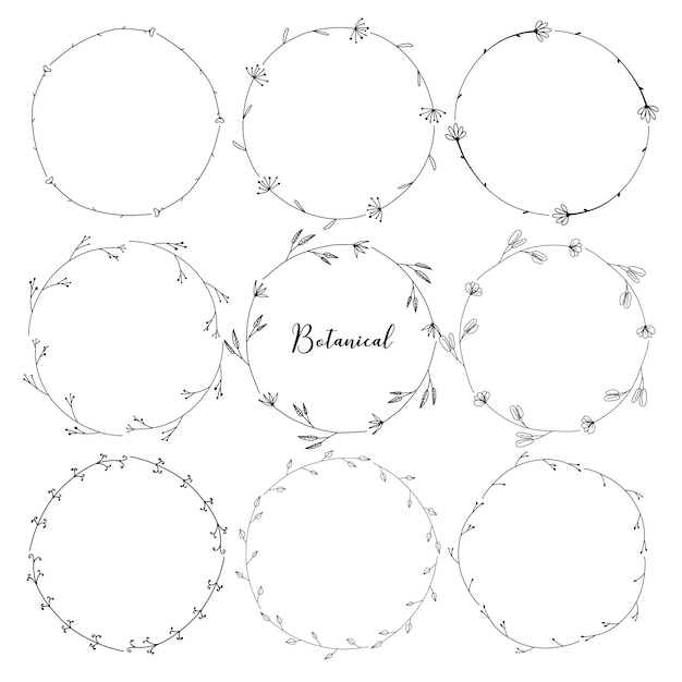 Set of botanical round frame, hand drawn flowers