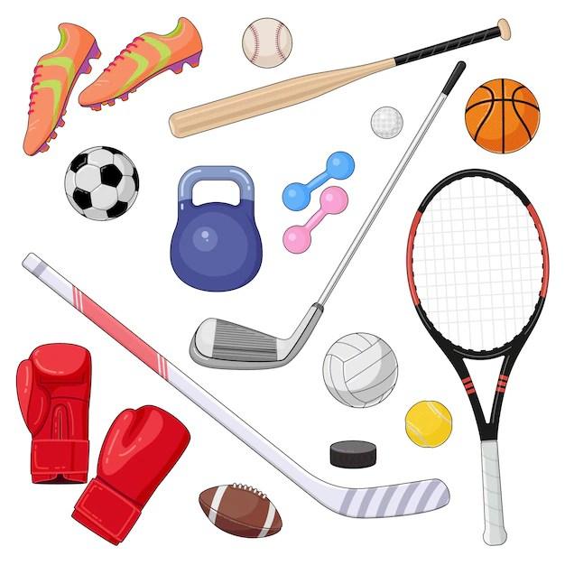 Set of cartoon sport equipment. vector illustration of colorful sport balls and gaming items. | Premium Vector