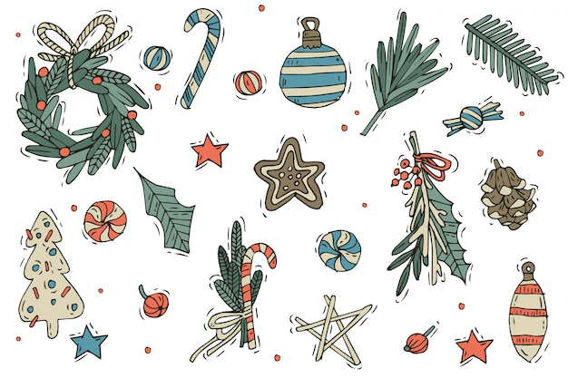 Premium Vector Set Of Christmas Decorations Hand Draw Elements On A White Background Winter Holidays Design Elements