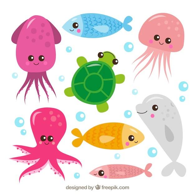 Premium Vector Set Of Cute Sea Animals