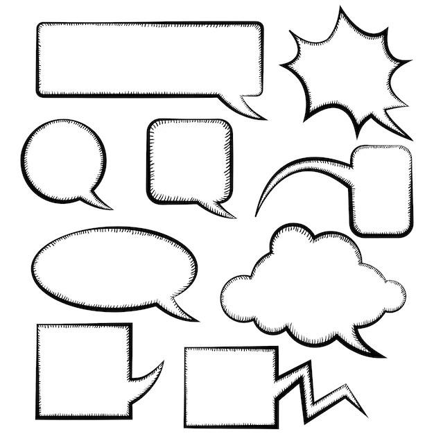 Set of different speech bubble templates doodle style