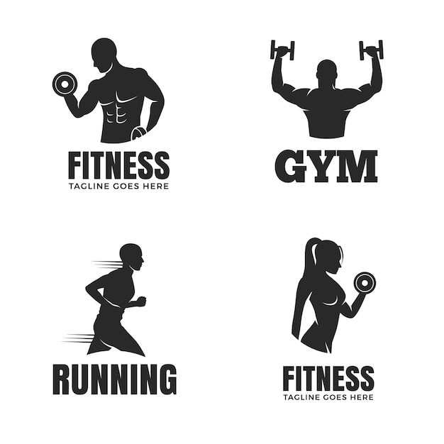 Set of fitness logo templates isolated on white background