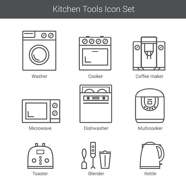 Set of household appliances vector icons: cooker, washer