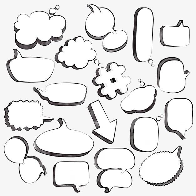 Set of 3d empty comic speech bubbles, pop art design