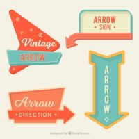 Set of bright vintage arrow signs Vector