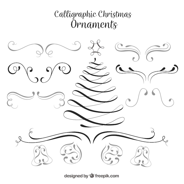 Set Of Christmas Calligraphic Ornaments Vector Free Download