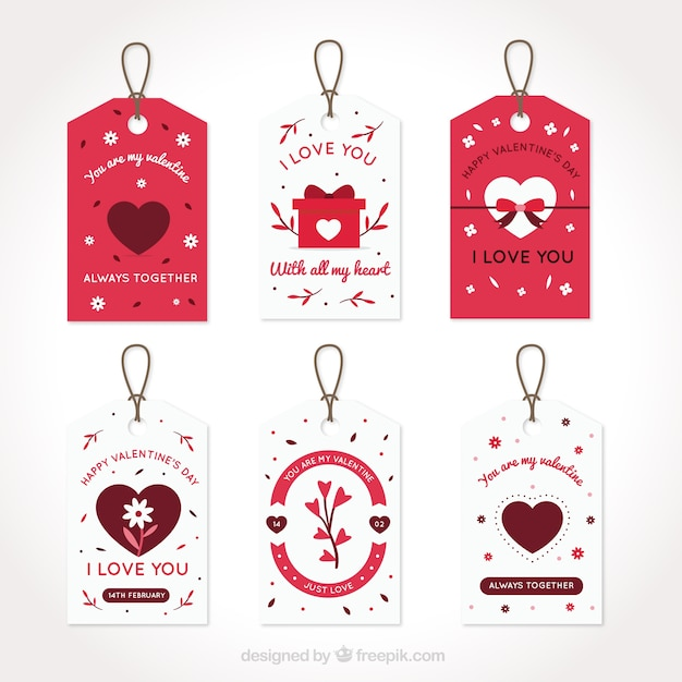 Set Of Valentine Labels With Love Messages Vector Free