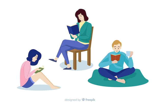 Download Set of young book lovers people reading Vector | Free Download